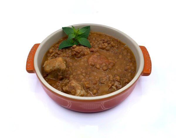 cocina tradicional congelada 5 gama estofado de lentejas con costilla