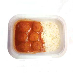 Menú precocinado 5 gama congelado albóndigas con tomate y arroz