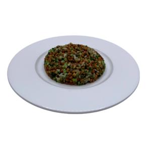 Plato vegetariano ultracongelado ensalada de lentejas con verduras, arroz y quínoa