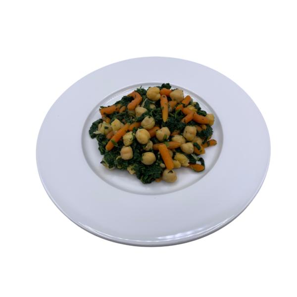 Menú vegetariano precocinado congelado Cazuela de garbanzos, espinacas y zanahorias baby