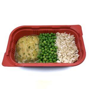 Comida precocinada para llevar congelada merluza en salsa verde y arroz integra