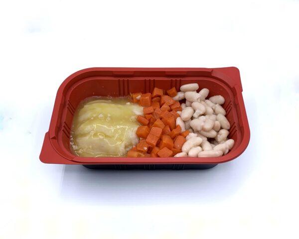 Menu preparado congelado para llevar bacalao al pil pil