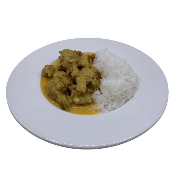 plats precuinat congelat pollastre al curri amb arròs basmati