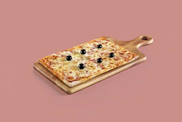 pizza familiar congelada y precocinada de jamon y queso