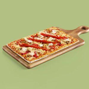 pizza vegetariana escalivada con queso de cabra