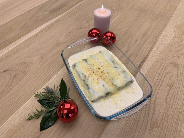 plato precocinado congelado canelón XL de rape y gambas